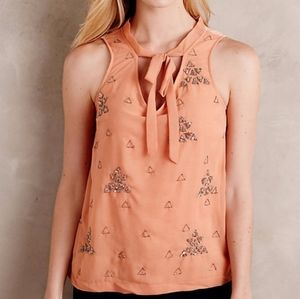 Akeim & Kin Anthropologie peach embroidered blouse